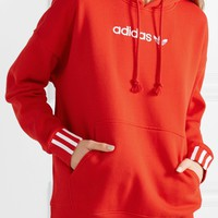 ADIDAS ORIGINALS Coeeze embroidered striped organic cotton-blend jersey hoodie