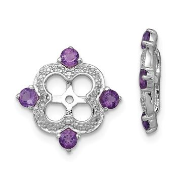 925 Sterling Silver Rhodium Diamond and Amethyst Earring Jacket
