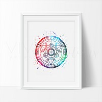 Fullmetal Alchemist, Transmutation Circle Watercolor Art Print