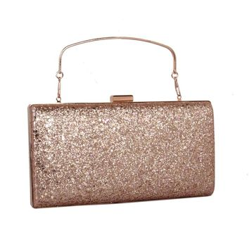 Women Clutch leatherette All Seasons Wedding Event/Party Formal Minaudiere Sequined MiniSpot Snap Silver Gold
