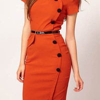 Orange Short Sleeve Midi Dress with Buttons