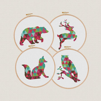 Set of 4 Cross Stitch pattern Fox deer owl bear, Geometric pattern modern,  Animal Cross Stitch geometric