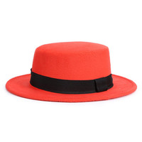 Orange Bow Tie Woolen Fedora Hat