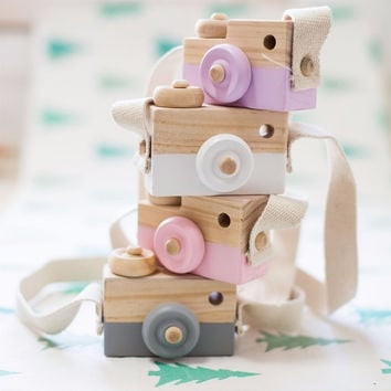 Lovely Cute Wooden Camera Toys For Baby Kids Room Decor Furnishing Articles Child Christmas Birthday Gifts Nordic European Style
