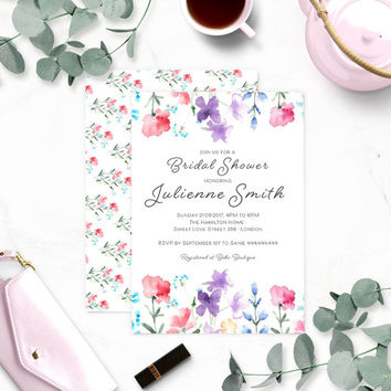 Floral Watercolor Bridal Shower Invitation-Wildflowers Bridal Shower Invitation-Rustic Bridal Shower-Customized Bridal Shower Invite