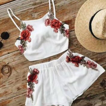 white embroidery two-piece outfit