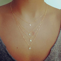 Moon Phase Long Layered Necklace, Moon Cycle, Tier Necklace