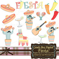 Fiesta Clipart, Mexican Clipart, red hot chili peppers clip, Mexican Clip art, fiesta clip art, potted cactus clip art - Commercial OK