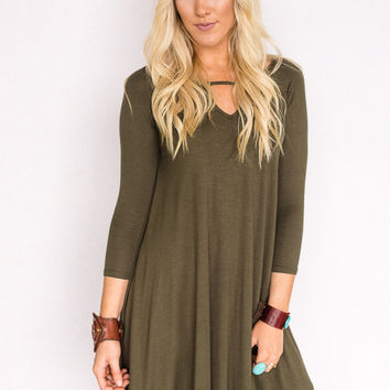 Long Sleeve Boho Dress in Olive