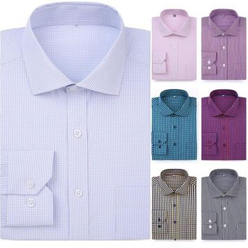 New Product Men Casual Plaid Long-sleeved Dress Shirt
