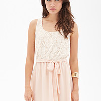 LOVE 21 Floral Lace Tea Dress Cream/Peach