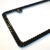 2 Rows Full BLACK Covered Crystal Rhinestones on BLACK License Plate Frame and 2 Screw Caps