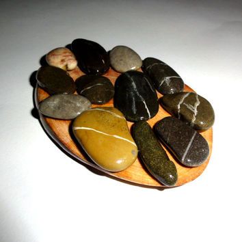 Soap Dish Drain, Soap Dish Wood Rocks Holder Handmade Natural. Wood Slice, River Rocks. Unique River Stones Soap Dish. Bathroom Decor soap.