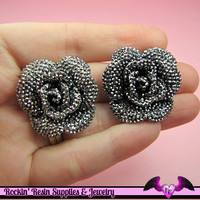 3 pcs Faux RHINESTONE Metallic Gunmetal Black 34mm Resin Flower Cabochons