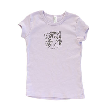 Girls Purple Kitty Tee