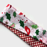 Christmas Fabric Headband for Women - Reversible Headband for Holidays -,Teen Girls Headband - Christmas Headband - Polka Dot Head Band -