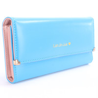 Turquoise Faux Leather Cute Wallet Clutch