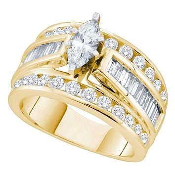 14kt Yellow Gold Women's Marquise Diamond Solitaire Bridal Wedding Engagement Ring 2.00 Cttw - FREE Shipping (USA/CAN) (Certified)