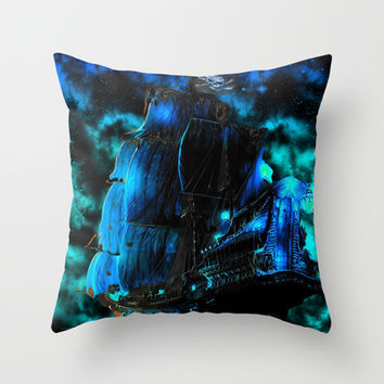 Pirates of the Caribbean-The Black Pearl Throw Pillow by Augustinet
