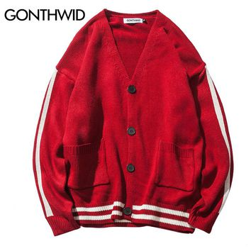 GONTHWID Color Block Striped Sweater Coats Men's Hip Hop Casual V-Neck Knitwear Coat 2017 Autumn Fashion Long Sleeve Sweaters