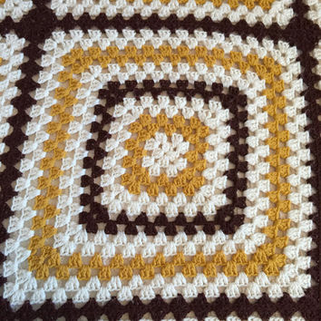 Granny Square Afghan, Crocheted Sofa Throw, Brown and Gold Blanket, Retro Bedding, Vintage Bed Coverlet, Crochet Blanket, Throw Blanket