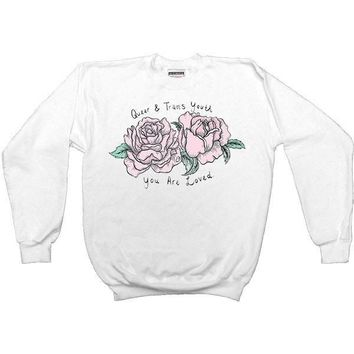 Queer & Trans Youth, You Are Loved -- Unisex Sweatshirt
