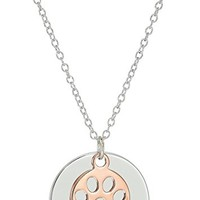 "Rose Gold Plated Two Tone Sterling Silver Engraved ""Dog Mom"" and Cutout Paw Print Disc Necklace, 18"""