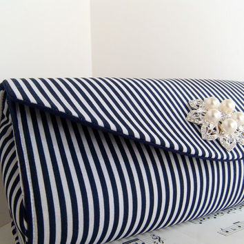 Nautical and pearl clutch Blue and white stripe purse by toriska