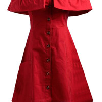 Red Off Shoulder Ruffle Detail Button Up Dress