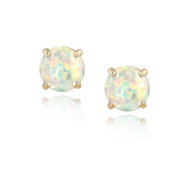 18K Gold over 925 Silver Created White Opal 6mm Round Stud Earrings
