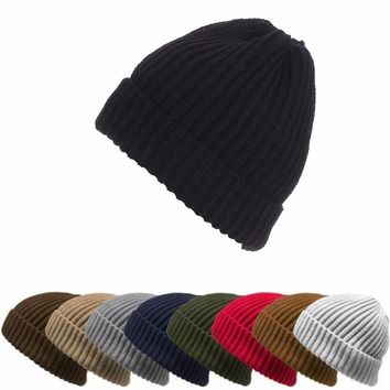 2017 Fashion Ribbed Ingot Knit Ski Cap Men Women Hats Autumn Winter Outdoor Warm Hat Solid Color Vertical Stripes Single Cuffs