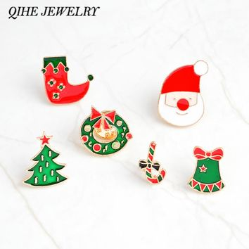 QIHE JEWELRY Brooches and pins Christmas pins Christmas tree wreath stocking bells santa brooches Christmas decoration gifts