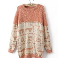 Holiday Winter Knitted Comfy Reindeer Snowflakes pattern Sweater 4 Colors