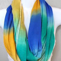 Ombre Striped Infinity Scarf Yellow Turquoise Blue White Womens Fashion Accessories Ombre Summer Scarf Lightweight Scarves
