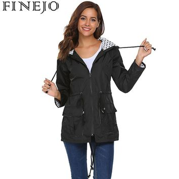 Trendy FINEJO Women Lightweight Jacket Hooded 2018 Autumn Long Sleeve Drawstring Rain Raincoat Dots Print Fashion Women Jacket Coat AT_94_13