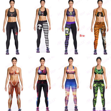 Popular Women Sports Sets Fitness Gym Bras & Pants 3D Print Cat Skull Tiger Muscle City Green Leaf Stars Quick Drying Tracksuit