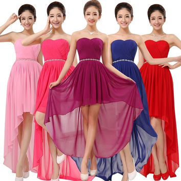 Sexy Evening Dress 2015 New Arrival Plus Size Bride Wedding Party Dress Chiffon Strapless Bridesmaid Dresses