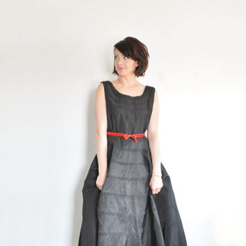 little black mid century dress . 1950 textured circle skirt .medium.large