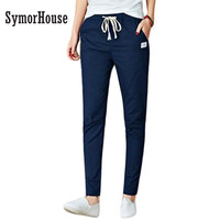 SymorHouse 2017 Spring autumn Fashion Women Harem Pants Casual Slim Plus Size Cotton linen Trousers Woman Pencil pants size 3XL