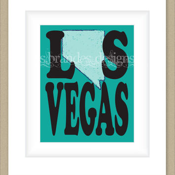 8x10 Nevada Print, Las Vegas Map Art Custom Colors
