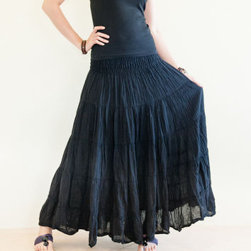 Boho Chic Broomstick Tiered Long Skirt Smocked Waist (Black)