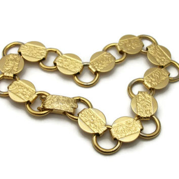 "1959 Sarah Coventry Gold Tone Chain Link Bracelet ""Young and Gay"" 1950s Signed Floral Leaf Design Foldover Clasp Minimalist Discs Circles"