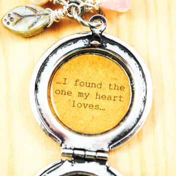 I found the one my heart loves - Song of Solomon 3:4 - Women's Quote Locket - Faith Inspired, Christian jewelry