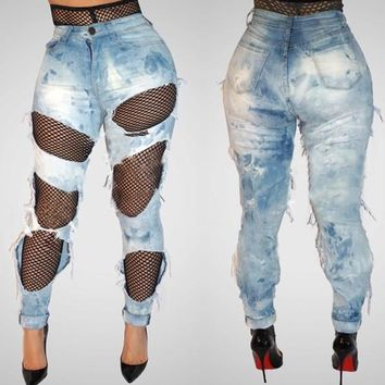 Light Blue Plain Ripped Destroyed Pockets High Waisted Casual Long Jeans
