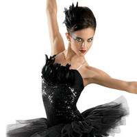 Black Feathered Sequin Leotard; Weissman Costumes