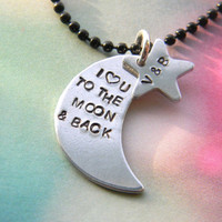 I love you to the moon and back necklace with personalized star