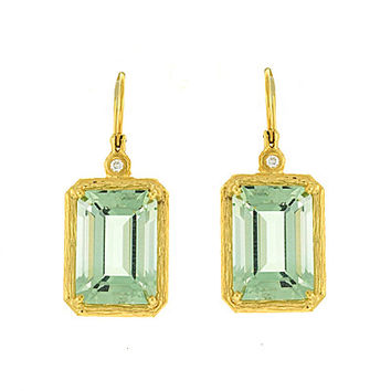 Green Amethyst and Diamond Drop Earrings