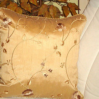 Floral embroidery – Goldenod silk pillow trim cover 18x18