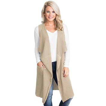 Khaki Pocket Long Cardigan Vest