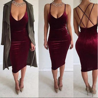 Spring Summer Scoop Neck Tea Length Velvet Bodycon Dress with Strapy Back